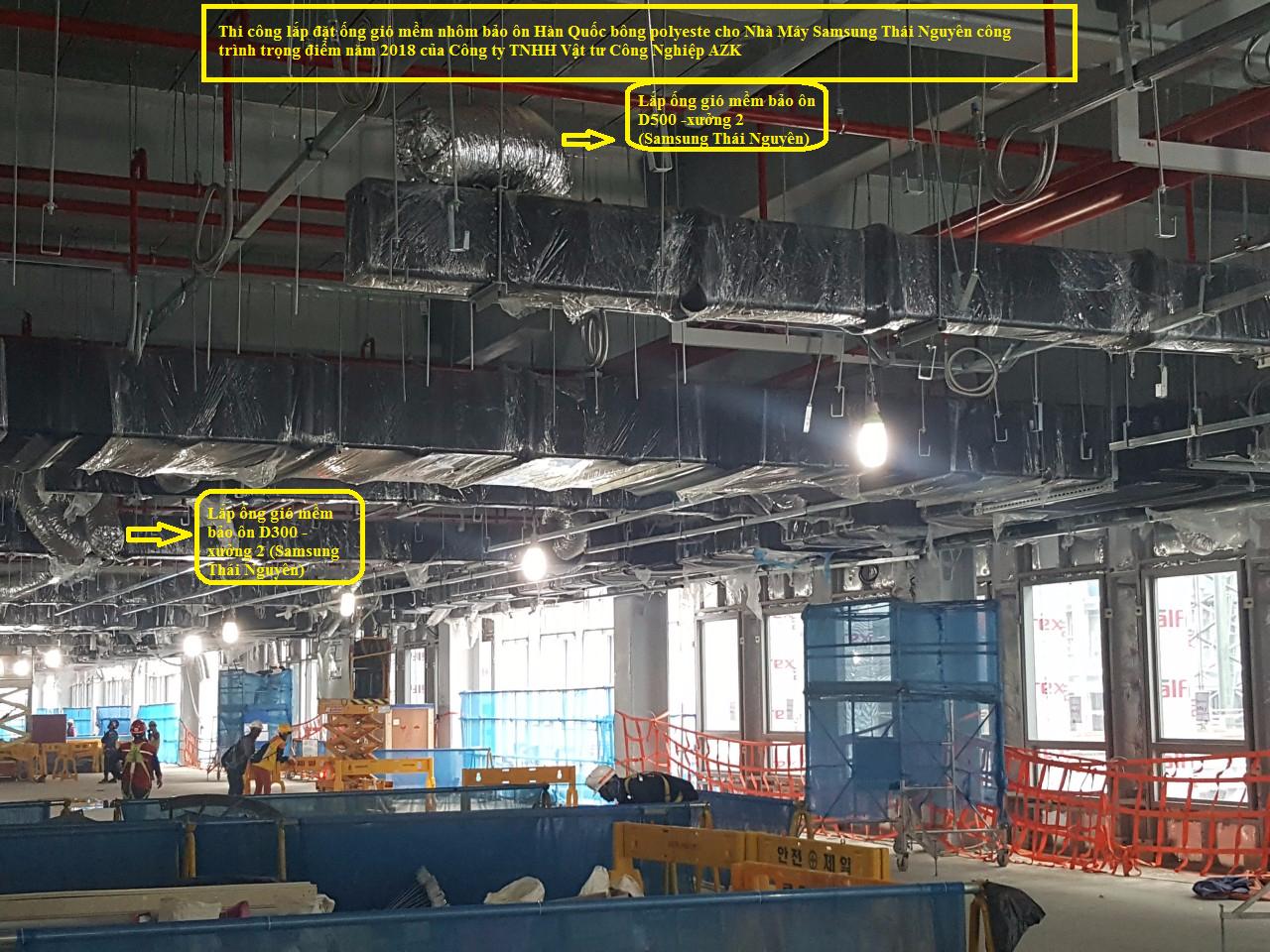 Thi công lắp đặt ống bảo ôn tại nhà máy samsung Thái Nguyên-xưởng